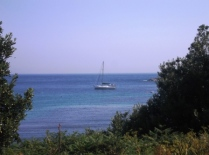 Rafiki at anchor off St Agnes